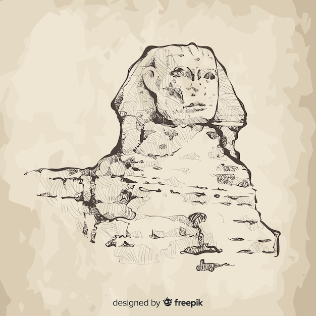 Egypt sphinx background hand drawn style Free Vector