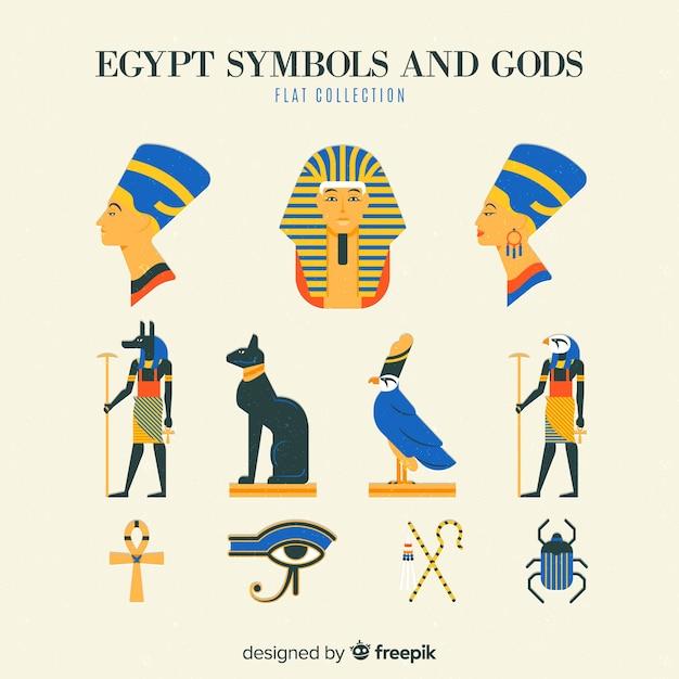 Коллекция символов египта и богов Бесплатные векторы