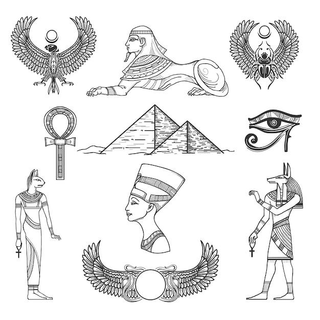 Египет символы культуры, значок характер, античная пирамида, векторные иллюстрации Бесплатные векторы