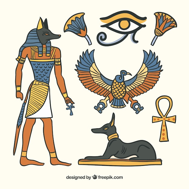 Egypt symbols and gods collection in hand drawn style Free Vector