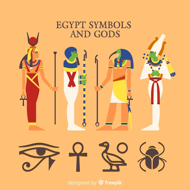 Egypt symbols and gods collection Free Vector