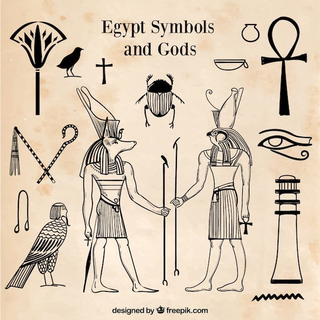 Egypt symbols and gods set in hand drawn style Free Vector