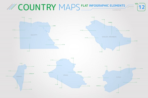 Egypt, syria, israel, iraq and saudi arabia vector maps ...