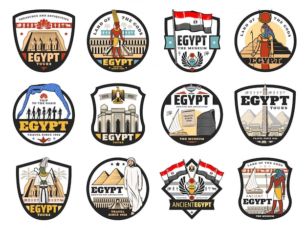 Египет путешествия, культура и религиозные иконы Premium векторы