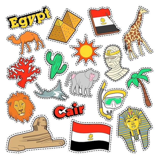 Элементы путешествия египта с архитектурой и пирамидами. векторный рисунок Premium векторы