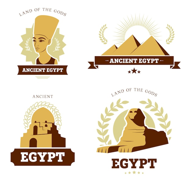 Egypt travel flat logo set. ancient egyptian religion and culture symbols of pyramids, sphinx statue and pharaoh sculpture vector illustration collection. egyptology and history concept Free Vector