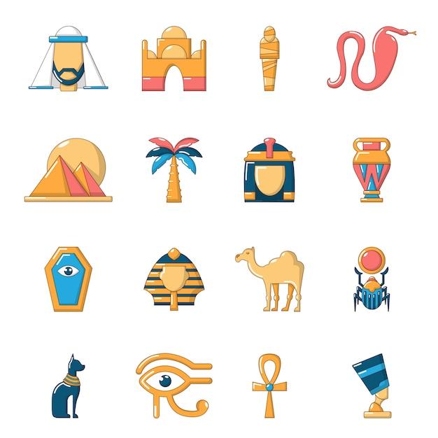 Egypt travel icons set Premium Vector