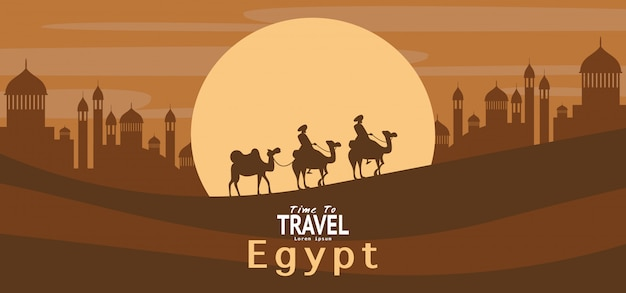 Egypt travel vacation  holiday wallpaper, banner, background Premium Vector