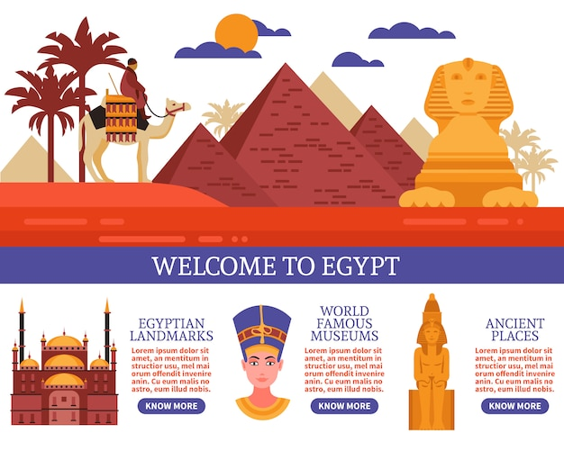 Egypt travel vector illustration Free Vector