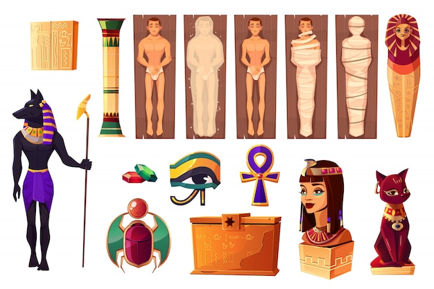 Egyptian ancient attributes of culture and religion Free Vector