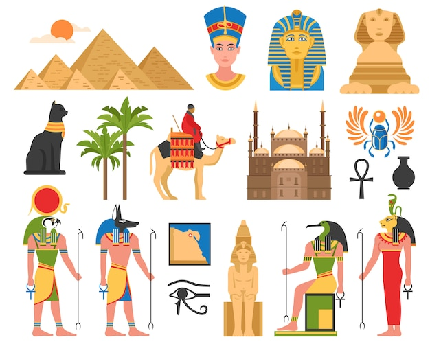 Egyptian art flat collection Free Vector