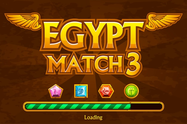 Egyptian on background and jewels icons.  button play and loading game Premium Vector