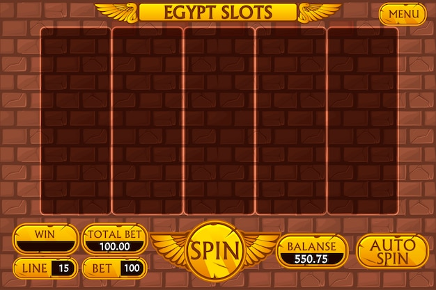 Premium Vector Egyptian Background Main Interface And Buttons For Casino Slot Machine Game