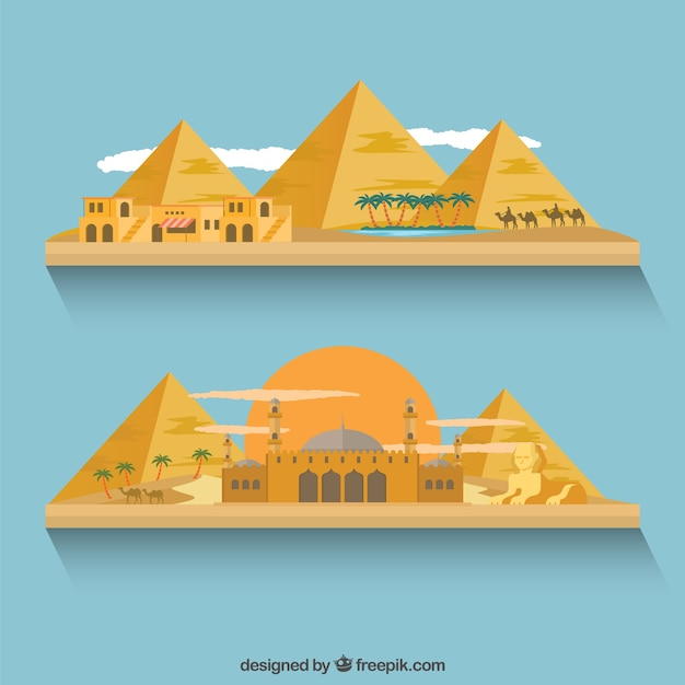 Egyptian buildings and pyramids Free Vector