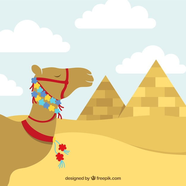 Egyptian camel with floral decoration Free Vector