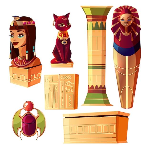 Egyptian cartoon set - bust of queen, pharaoh sarcophagus, ancient pillar Free Vector
