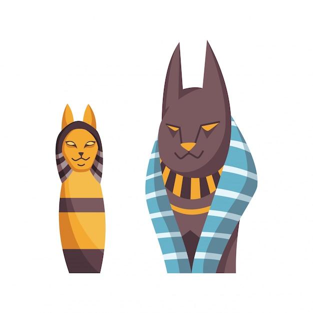 エジプトの猫。バステトの女神。古代エジプト美術の黄金のネックレスを持つ黒い猫。デザインの漫画現実的なアイコン Premiumベクター