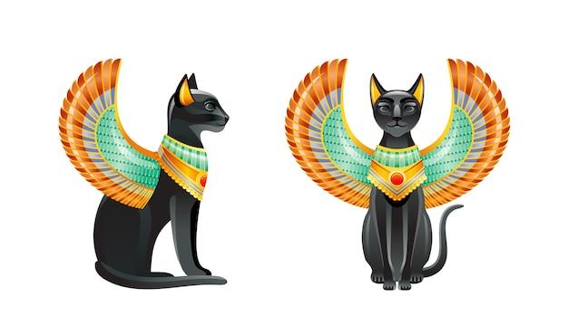 エジプトの猫。バステトの女神。スカラベの翼とゴールドのネックレスがセットされた黒猫。古代エジプト美術の小像。 Premiumベクター