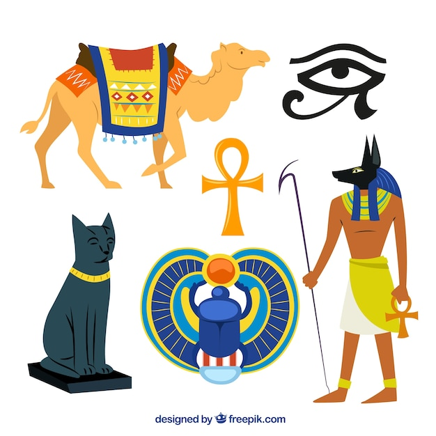 Egyptian culture illustrations Free Vector