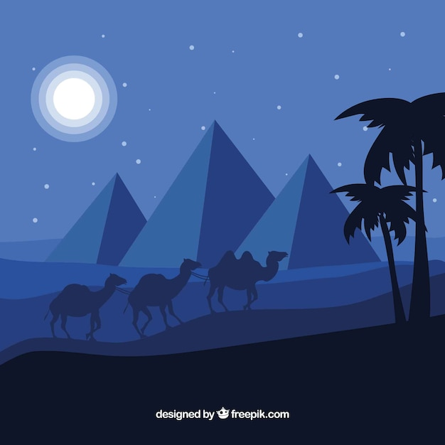 Egyptian desert night landscape with pyramids\ and caravan
