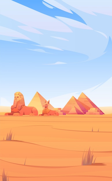 Egyptian desert with pyramids, sphinx and anubis Free Vector