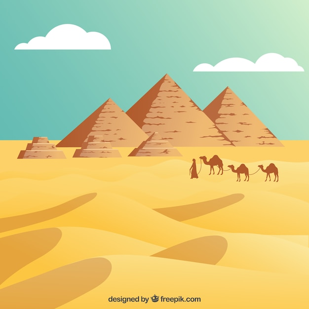 Egyptian desert with the pyramids Free Vector