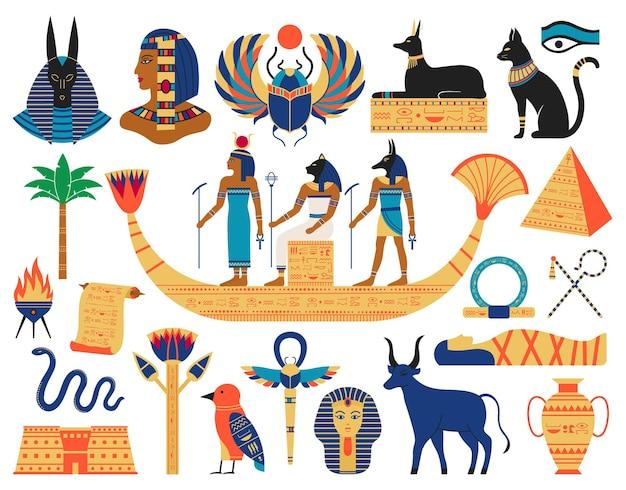 이집트 요소. 고대 신, 피라미드 및 신성한 동물. 이집트 신화 기호 집합입니다. 프리미엄 벡터