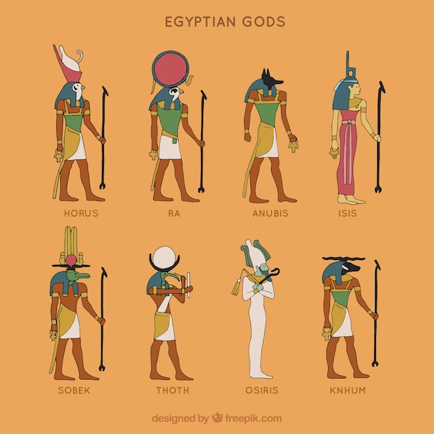 Egyptian gods collection Free Vector