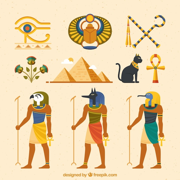 Egyptian gods and symbols collection with flat design Free Vector