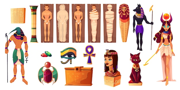 Egyptian gods thoth and hathor. ancient attributes of culture and religion set. Free Vector