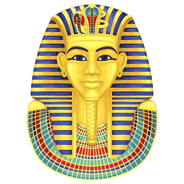 Египетская золотая маска фараонов. древняя культура петь и символ. Premium векторы