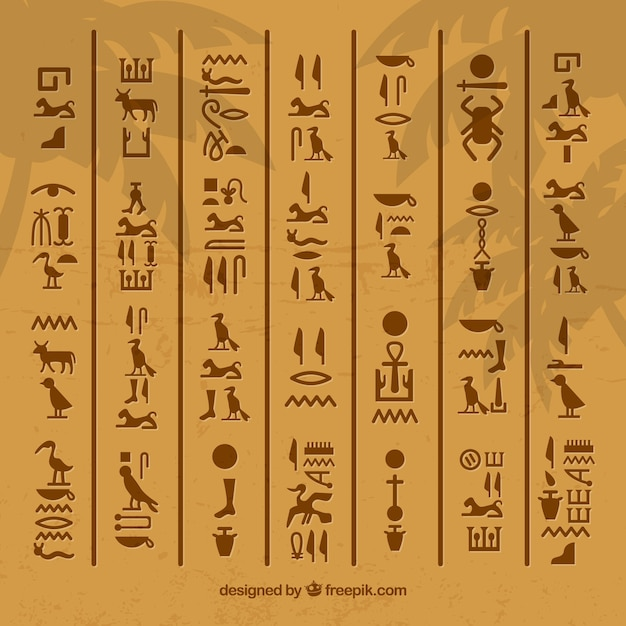 Egyptian hieroglyphics background with flat design Free Vector