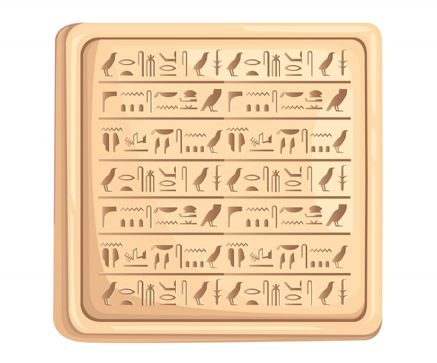 Egyptian hieroglyphics on stone plate ancient script  illustration on white background web site page and mobile app Premium Vector