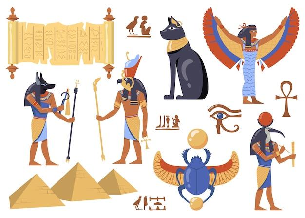 Egyptian mythology characters set. ancient egypt symbols, cat, iris, papyrus, deities with birds and animals heads, scarabaeus sacer, pyramids. Free Vector