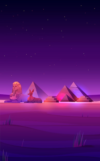 Egyptian night desert pyramids, sphinx and anubis Free Vector