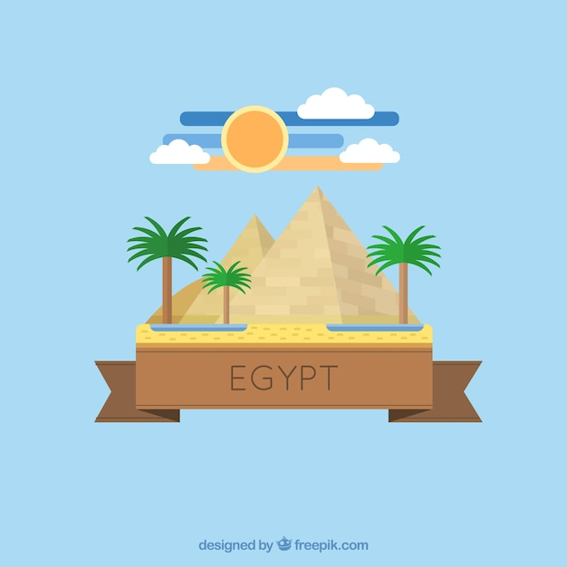 Egyptian pyramid in flat design Free Vector