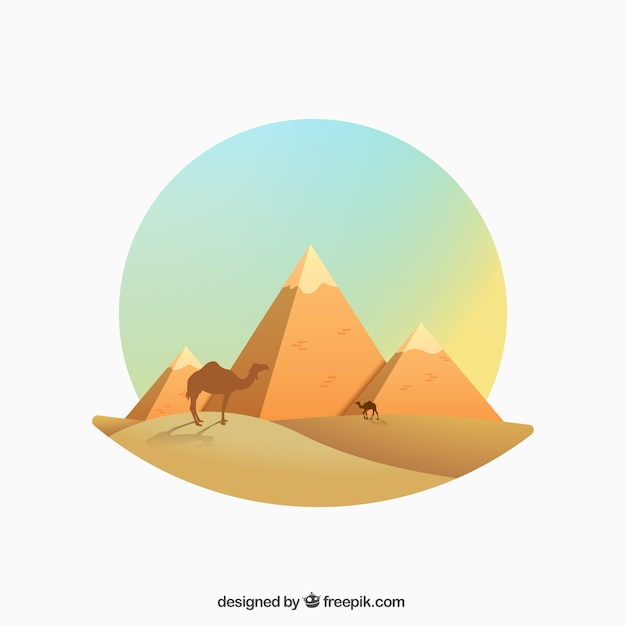 Egyptian pyramids illustration in gradient style Free Vector