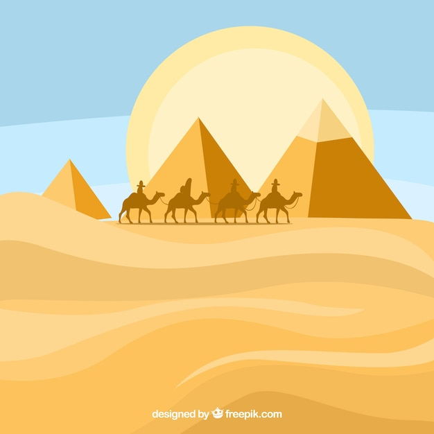 Egyptian pyramids landscape with caravan of camels Free Vector
