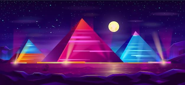 エジプトのピラミッド夜の風景漫画 無料ベクター