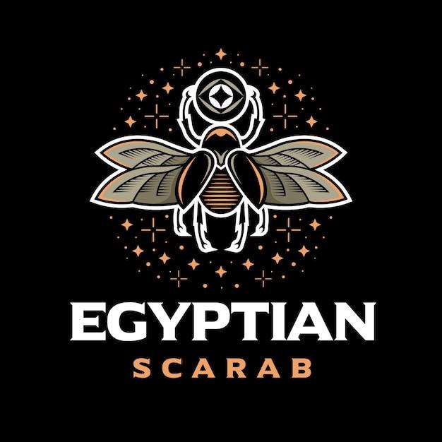 エジプトのスカラベカラフルなロゴ Premiumベクター