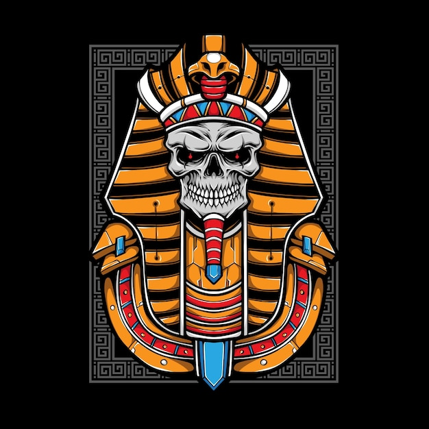 Egyptian skull mummy  illustration Premium Vector