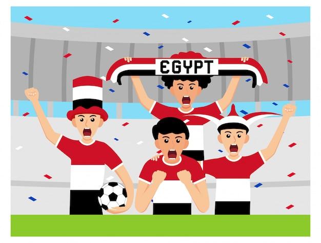 Египетские болельщики в плоском дизайне Premium векторы