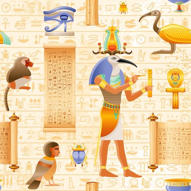 トスイビス神とファラオの要素-アンク、目wadjet、パピルススクロールとエジプトのベクトルシームレスなパピルスパターン。古代の歴史芸術。 Premiumベクター