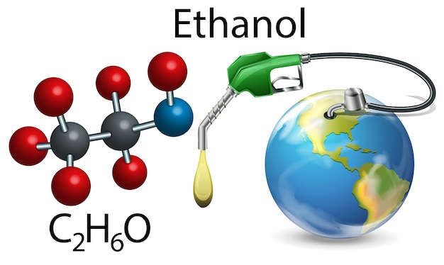 Ehanol and chemical formula Free Vector