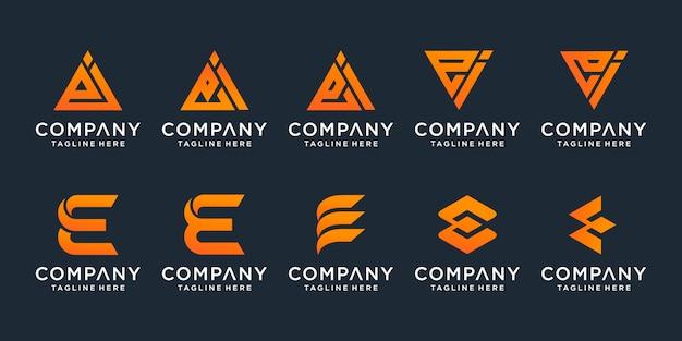 Набор творческого письма ei шаблона. иконки для бизнеса роскоши, элегантные, простые. Premium векторы
