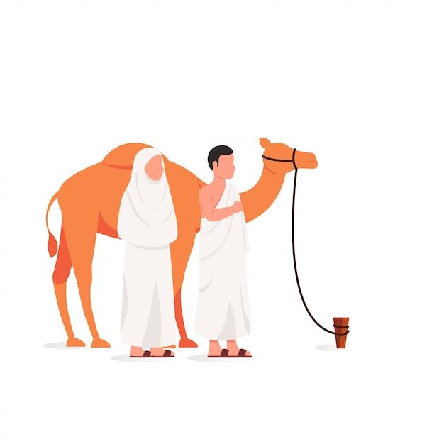 Eid adha mubarak and hajj illustration Premium Vector