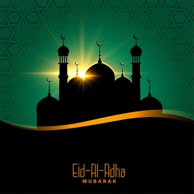Ид аль адха красивый фон с дизайном мечети Бесплатные векторы