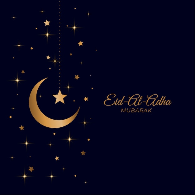 Eid al adha beautiful golden moon and star greeting Free Vector