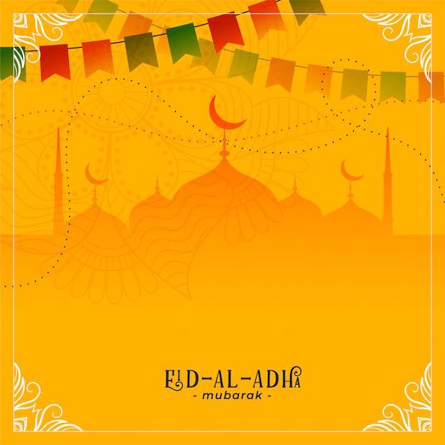 Eid al adha festival greeting with mosque decoration Free Vector