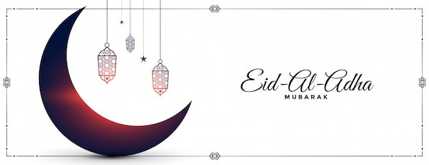 Eid al adha festival wishes banner with moon and lamps Free Vector